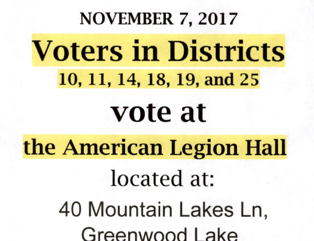 New Nov 7, 2017 Voting Location for Certain Districts