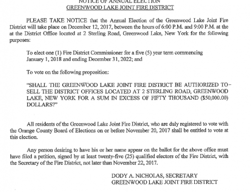 Dec 12 Annual Fire District Election