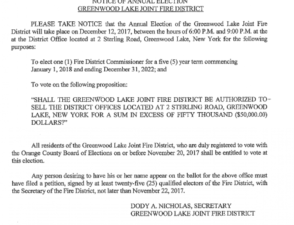 Dec 12 Annual Fire District Election